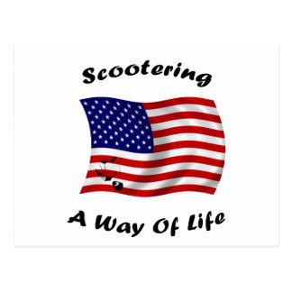 american scootering way of life white postcard