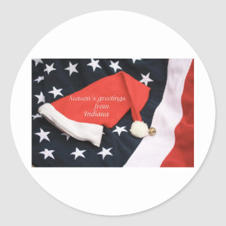 American season's greetings Indiana Round Stickers