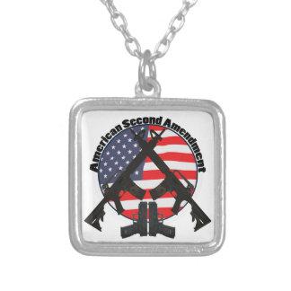 American Second Amendment Square Pendant Necklace