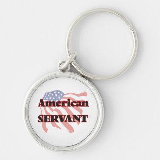 American Servant Silver-Colored Round Keychain