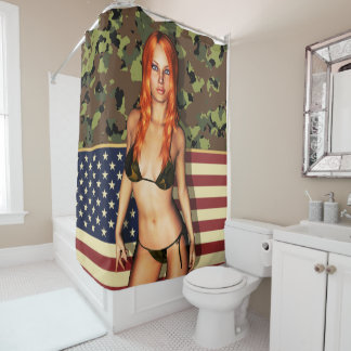 American Sexy Bikini Babe Shower Curtain