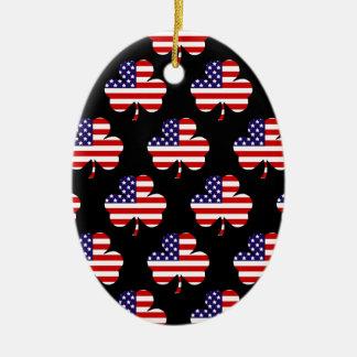 American Shamrock Ceramic Ornament