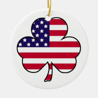 American Shamrock Ceramic Ornament