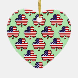 American Shamrocks Ceramic Ornament