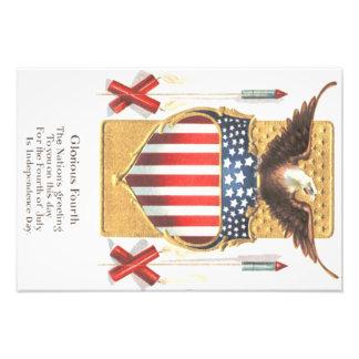 American Shield Bald Eagle Fireworks Photo Print