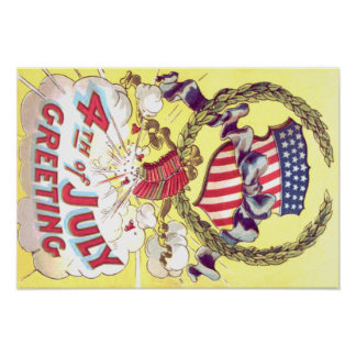 American Shield Firecrackers Fireworks Poster
