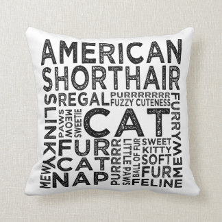 American Shorthair Cat Typography Throw Pillow