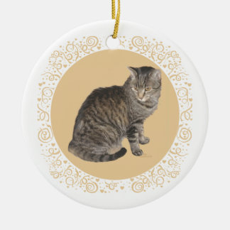 American Shorthair Tabby Cat Ceramic Ornament