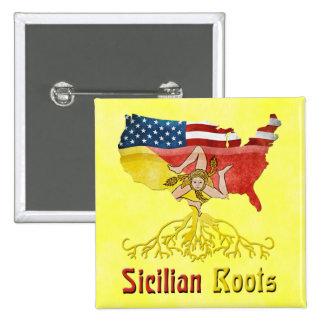 American Sicilian Roots Badge Pinback Button