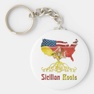 American Sicilian Roots Keyring Keychains