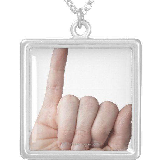American Sign Language 13 Silver Plated Necklace