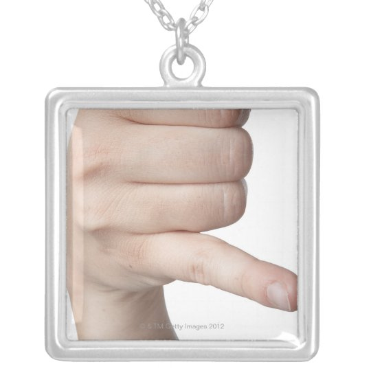American Sign Language 17 Silver Plated Necklace