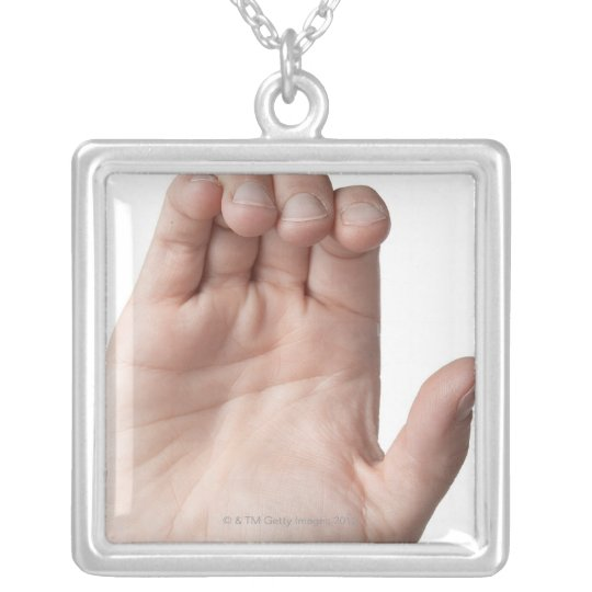 American Sign Language 21 Silver Plated Necklace