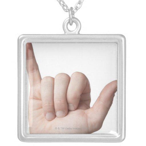American Sign Language 22 Square Pendant Necklace