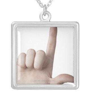 American Sign Language 25 Square Pendant Necklace