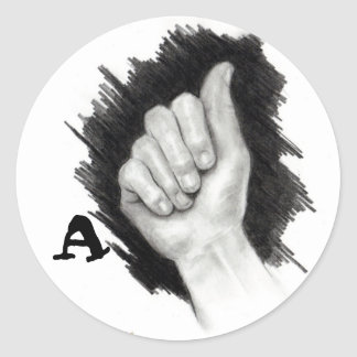"AMERICAN SIGN LANGUAGE ""A"" CLASSIC ROUND STICKER"