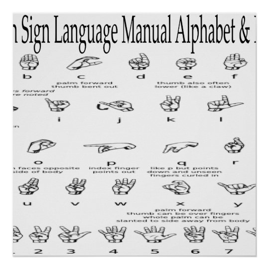 American Sign Language Asl Alphabet Numbers Chart  ZazzleCom