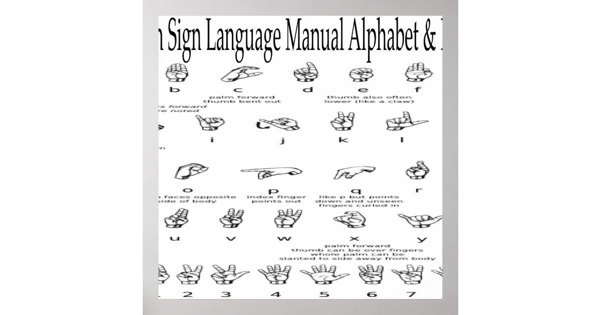 American Sign Language ASL Alphabet Numbers Chart – Sign Language Alphabet Chart