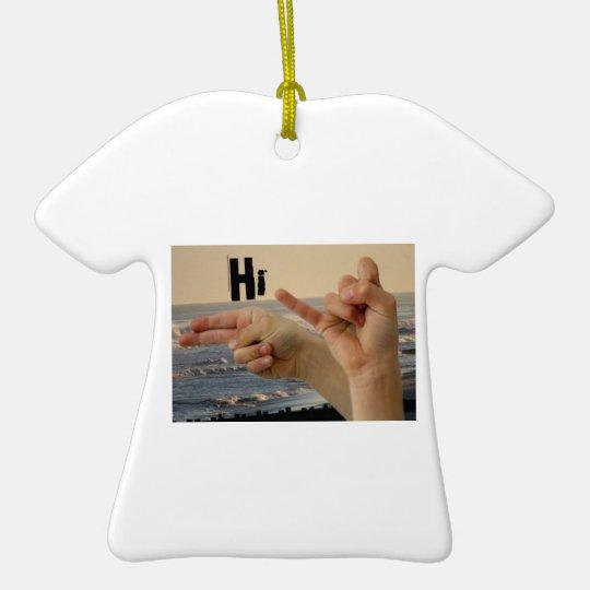 "American Sign Language ""Hi"" Ceramic Ornament"