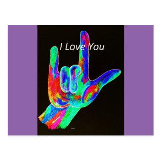 American Sign Language I LOVE YOU on Black Postcard
