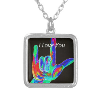 American Sign Language I LOVE YOU on Black Silver Plated Necklace
