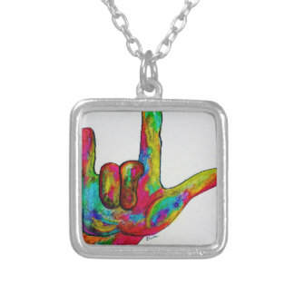 American Sign Language I LOVE YOU Silver Plated Necklace