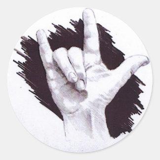 AMERICAN SIGN LANGUAGE I LOVE YOU ROUND STICKER