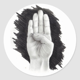 """AMERICAN SIGN LANGUAGE LETTER """"B"""" CLASSIC ROUND STICKER"""