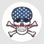 American Skull Classic Round Sticker