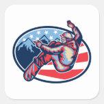 American Snowboarder Jumping Snowboard Retro Square Sticker