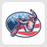American Snowboarder Jumping Snowboard Retro Sticker
