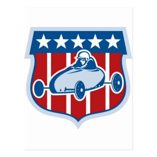 American  Soap box derby car with stars and stripe Postcard