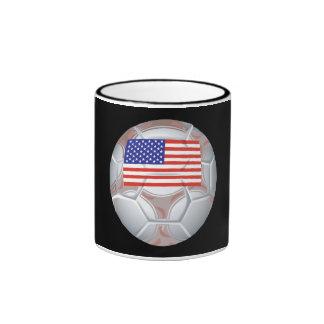 American Soccer Ball Ringer Coffee Mug