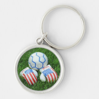 American Soccer Silver-Colored Round Keychain