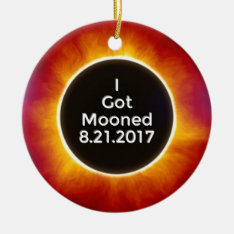 American Solar Eclipse Got Mooned August 21 2017.j Ceramic Ornament at Zazzle