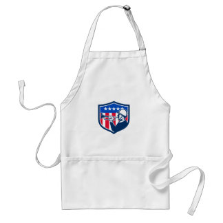 American Soldier Bugler Reveille USA Flag Crest Re Adult Apron