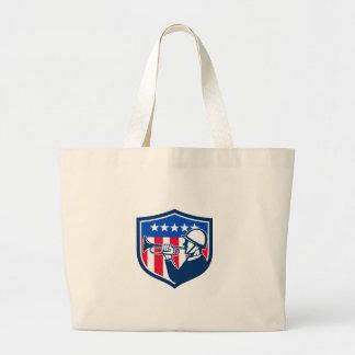 American Soldier Bugler Reveille USA Flag Crest Re Large Tote Bag