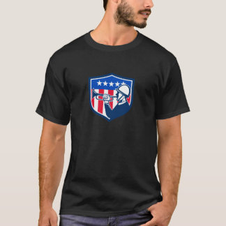 American Soldier Bugler Reveille USA Flag Crest Re T-Shirt
