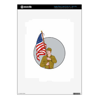 American Soldier Holding USA Flag Circle Drawing Decals For iPad 3