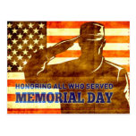 American soldier salute flag Memorial Day Postcards