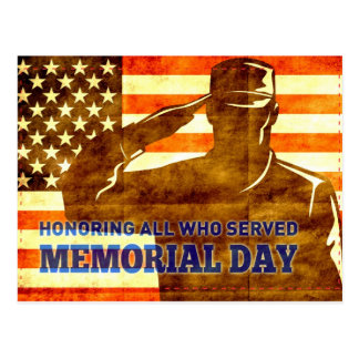 American soldier salute flag Memorial Day Postcard