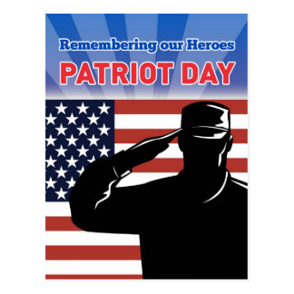 American soldier salute flag patriot day postcard