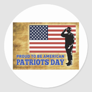American soldier salute flag Patriots day Classic Round Sticker