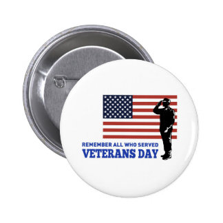 American soldier salute flag veterans day 2 inch round button