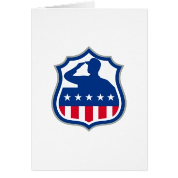 American Soldier Saluting USA Flag Crest Icon Card