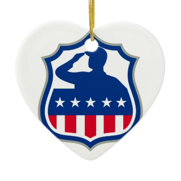 American Soldier Saluting USA Flag Crest Icon Ceramic Ornament