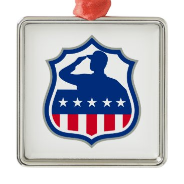 American Soldier Saluting USA Flag Crest Icon Metal Ornament