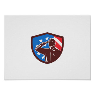 American Soldier Saluting USA Flag Crest Retro Poster