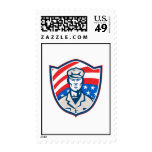 American Soldier With Stars and Stripes Shield Ret Postage Stamps