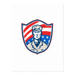 American Soldier With Stars and Stripes Shield Ret Postcard